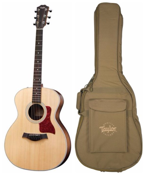 Taylor 214E Natural Acoustic-Electric Guitar with Gig Bag. Taylor 214E