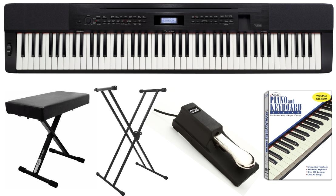 Portable digital pianos and keyboards buy casio kawai for Yamaha p105 digital piano bundle